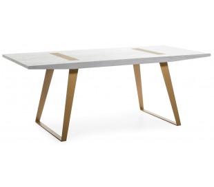 Spisebord i metal og træ 200 x 90 cm - Antik hvid/Antik guld