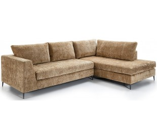 Chaiselongsofa i tekstil og metal 300 x 210 cm - Sort/Brun