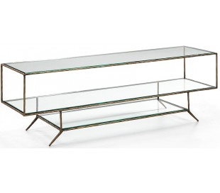 Tvbord i metal og glas B152 cm - Antik guld