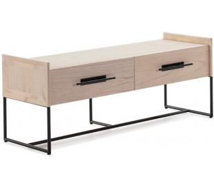 Tvbord i metal og træ B140 cm - Sort/Natur