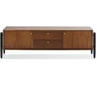 Tvbord i træ H50 x B160 cm - Sort/Brun