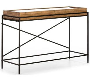 Konsolbord i metal og træ B123 cm - Sort/Natur
