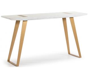 Konsolbord i metal og træ B150 cm - Antik hvid/Antik guld