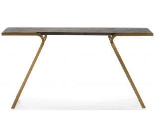 Konsolbord i stål og træ B152 cm - Antik guld/Mørkebrun