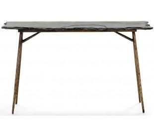 Konsolbord i jern og sten B107 cm - Antik guld/Sort