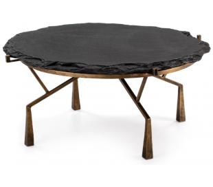 Sofabord i metal og sten Ø95 cm - Antik guld/Sort