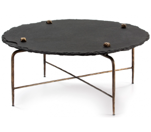 Sofabord i metal og sten Ø92 cm - Antik guld/Sort