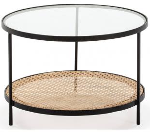 Sofabord i stål, rattan og glas Ø66 cm - Sort/Natur