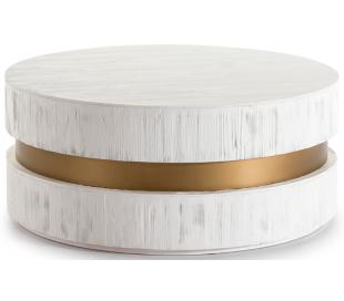 Sofabord i metal og træ Ø100 cm - Antik hvid/Antik guld