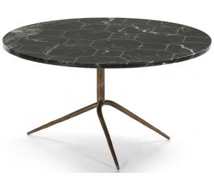 Sofabord i marmor og metal Ø82 cm - Antik guld/Sort marmor