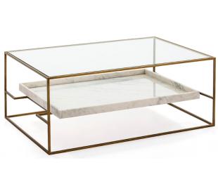 Sofabord i marmor, glas og metal 111 x 76 cm - Antik guld/Hvid marmor