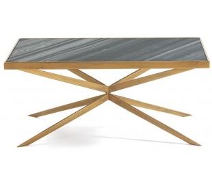 Sofabord i marmor og metal 106 x 60 cm - Antik guld/grå marmor