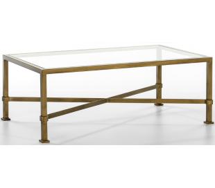 Sofabord i metal og glas 120 x 70 cm - Antik guld/Klar