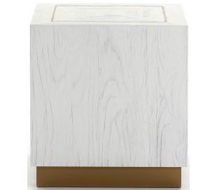 Sofabord i metal og træ 55 x 55 cm - Antik hvid/Antik guld