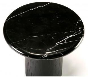 Sofabord i marmor og træ Ø50 cm - Sort/Sort marmor