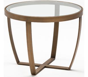 Sofabord i metal og glas Ø60 cm - Antik bronze/Klar