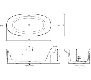 Ideavit Solidcliff fritstående badekar 175 x 88 cm Solid surface - Mat hvid