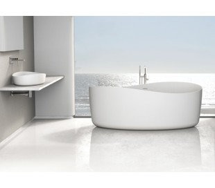 Ideavit Solidharmony fritstående badekar 175 x 100 cm Solid surface - Mat hvid