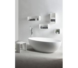 Ideavit Solidellipse fritstående badekar 180 x 88 cm Solid surface - Mat hvid