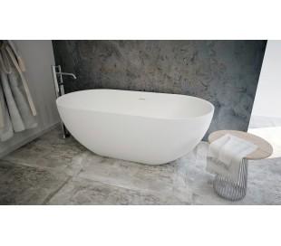 Ideavit Solidera fritstående badekar 150 x 76 cm Solid surface - Mat hvid