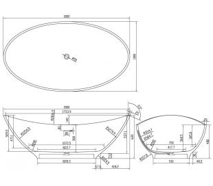 Ideavit Solidlectus fritstående badekar 180 x 100 cm Solid surface - Mat hvid