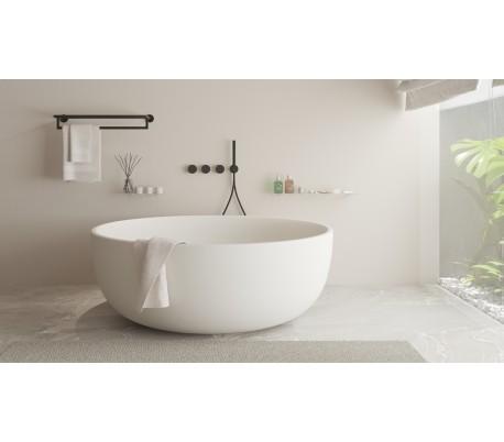 Ideavit Solidround rundt fritstående badekar Ø135 cm Solid surface - Mat hvid