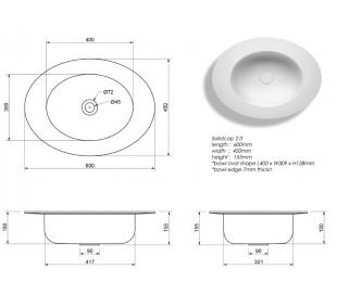 Ideavit Solidcap 2.0 bordmonteret håndvask 60 x 45 cm Solid surface - Mat hvid