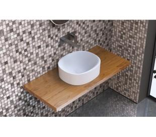 Ideavit Solidcliff-40 bordmonteret håndvask 40 x 35 cm Solid surface - Mat hvid
