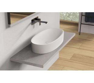 Ideavit Solidcliff-70 bordmonteret håndvask 70 x 35 cm Solid surface - Mat hvid