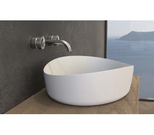 Ideavit Solidharmony bordmonteret håndvask 60 x 44 cm Solid surface - Mat hvid