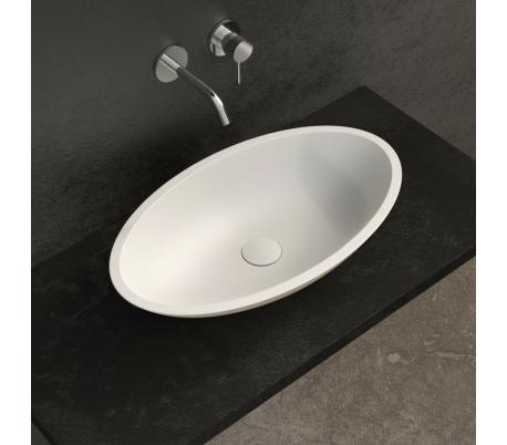 Ideavit Solidjazz bordmonteret håndvask 70 x 40 cm Solid surface - Mat hvid