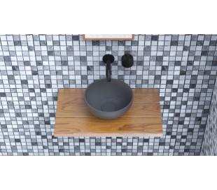 Ideavit Solidmicro bordmonteret håndvask Ø23 cm Solid surface - Mat mørkegrå