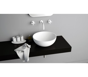 Ideavit Solidthin XS bordmonteret håndvask Ø32 cm Solid surface - Mat hvid