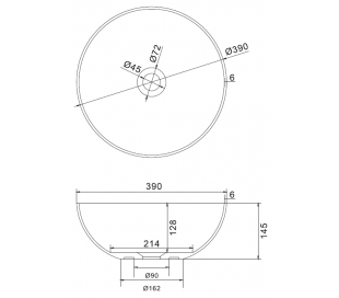 Ideavit Solidthin bordmonteret håndvask Ø39 cm Solid surface - Mat hvid