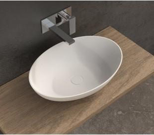 Ideavit Solidthin bordmonteret håndvask 50 x 33 cm Solid surface - Mat hvid