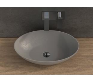 Ideavit Solidthin bordmonteret håndvask 60 x 40 cm Solid surface - Mat lysegrå