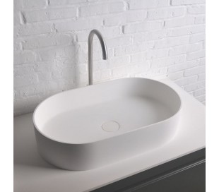Ideavit Solidthin bordmonteret håndvask 60 x 35 cm Solid surface - Mat hvid