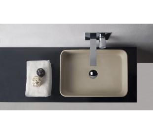 Ideavit Solidthin bordmonteret håndvask 50 x 35 cm Solid surface - Mat lys beige