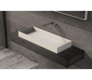 Ideavit Solidjoy bordmonteret håndvask 100 x 37,5 cm Solid surface - Mat hvid