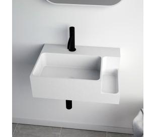 Ideavit Soliddual vægmonteret håndvask 50 x 36 cm Solid surface - Mat hvid