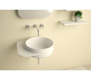 Ideavit Soliddual vægmonteret håndvask 49 x 43 cm Solid surface - Mat hvid