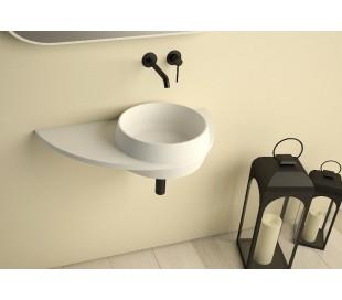 Ideavit Soliddual vægmonteret håndvask 70 x 35 cm Solid surface - Mat hvid