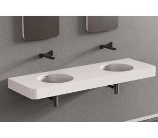 Ideavit Solidbrio vægmonteret håndvask 150 x 48 cm Solid surface - Mat hvid