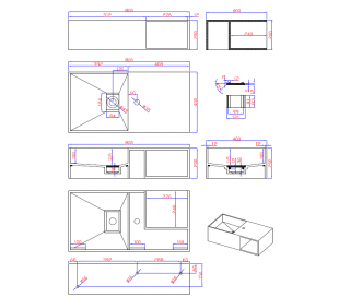 Ideavit Solidplan vægmonteret håndvask 80 x 40 cm Solid surface - Mat hvid