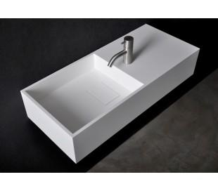 Ideavit Solidplan vægmonteret håndvask 75 x 32,5 cm Solid surface - Mat hvid