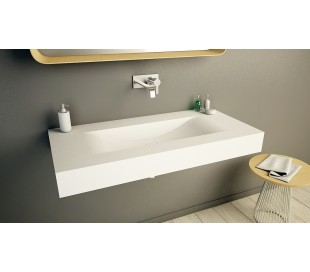 Ideavit Solidvolo vægmonteret håndvask 100 x 48 cm Solid surface - Mat hvid