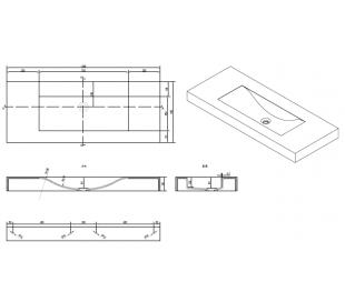 Ideavit Solidvolo vægmonteret håndvask 120 x 48 cm Solid surface - Mat hvid