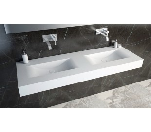Ideavit Solidvolo vægmonteret håndvask 140 x 48 cm Solid surface - Mat hvid