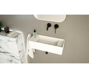 Ideavit Solidbliss vægmonteret håndvask 55 x 22 cm Solid surface - Mat hvid