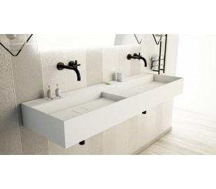 Ideavit Solidbliss vægmonteret håndvask 150 x 45 cm Solid surface - Mat hvid